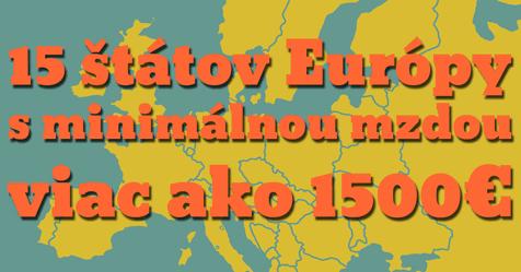 Mapa Európy a text 1500 eur