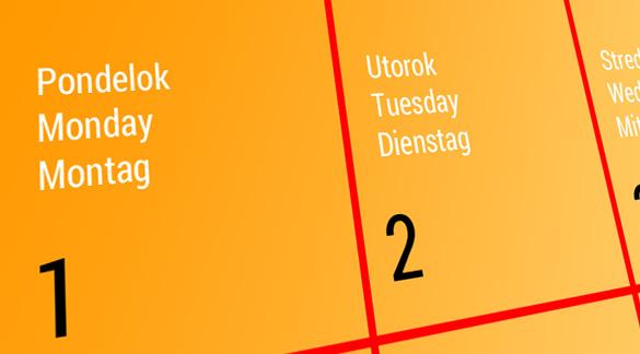 Názvy dní v angličtine a nemčine