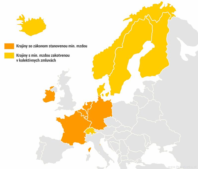 Mapa európskych krajín s min. mzdou nad 1500 eur