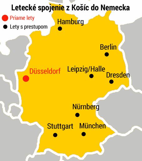 Mapa - letiská v Nemecku