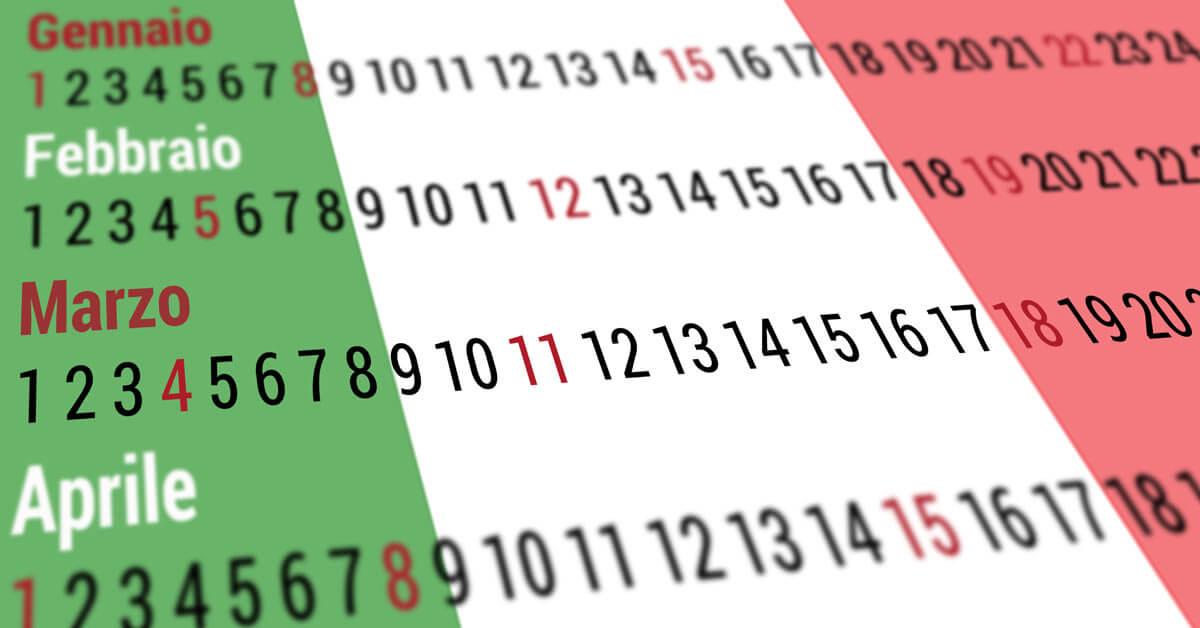 Kalendár - štátne sviatky Taliansko